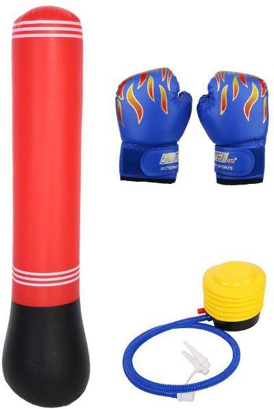 saco de boxeo y guantes para niños